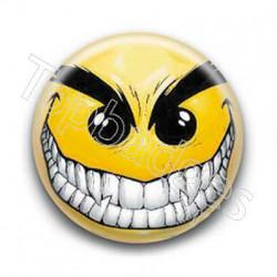 Badge Smiley méchant jaune