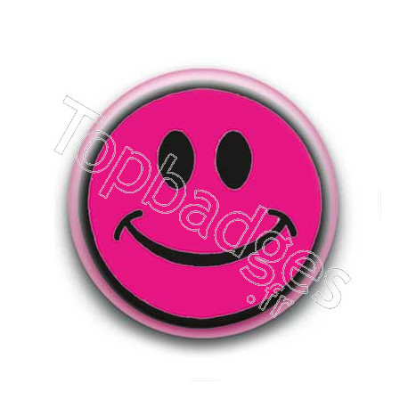 Badge : Smiley centré rose