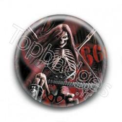 Badge Squelette avec guitare