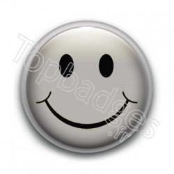 Badge Smiley Gris