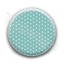 Badge Bleu Vert et Petits Pois Blancs