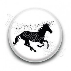 Badge : Licorne, noir et blanc