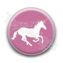 Badge : Licorne, rose et blanc