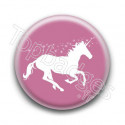 Badge Licorne Rose et Blanc