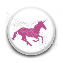 Badge : Licorne, blanc et rose