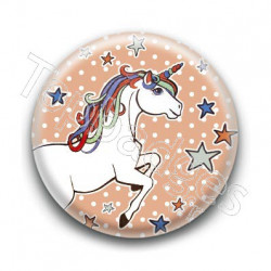 Badge : Licorne, fond orange