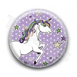 Badge : Licorne, fond violet