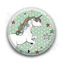 Badge Licorne Fond Vert