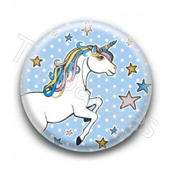 Badge : Licorne, fond bleu