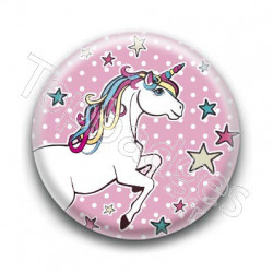 Badge : Licorne, fond rose