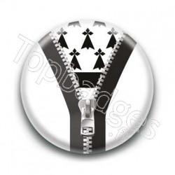 Badge Zip Blanc Drapeau Breton