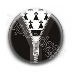 Badge Zip Noir Drapeau Breton