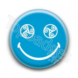Badge : Smiley triskel bleu