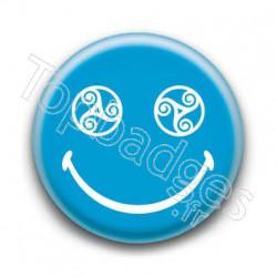 Badge Smiley Triskel Bleu