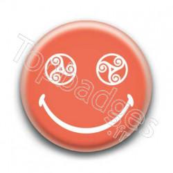 Badge Smiley Triskel Orange