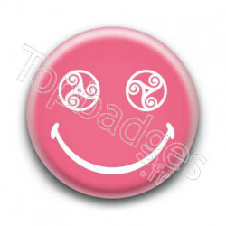 Badge Smiley Triskel Rose
