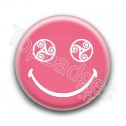 Badge Smiley Triskel Rose