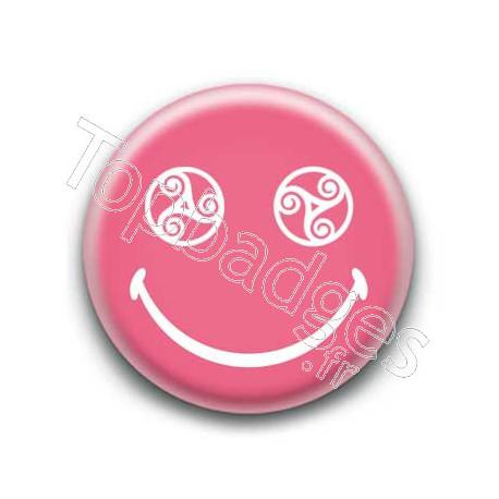 Badge : Smiley triskel rose
