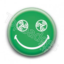 Badge Smiley Triskel Vert