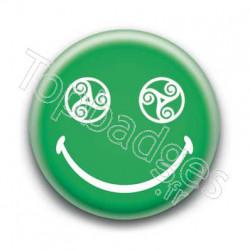 Badge Smiley Triskel Vert