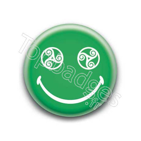 Badge : Smiley triskel vert