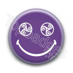 Badge Smiley Triskel Violet