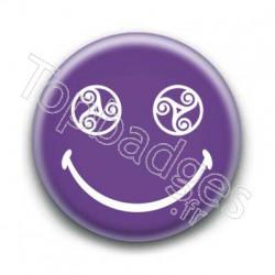 Badge Smiley Triskel Violet