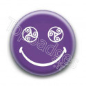 Badge : Smiley triskel violet