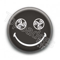 Badge : Smiley triskel noir