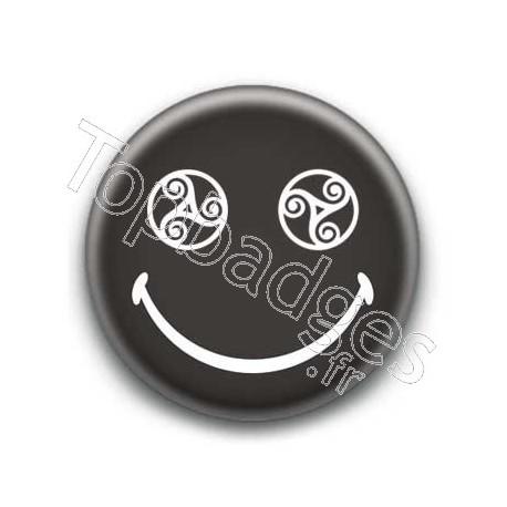 Badge : Smiley triskel noir
