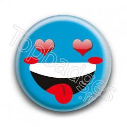 Badge Smiley Fou d'Amour Bleu