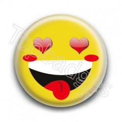 Badge Smiley Fou d'Amour Jaune