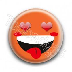 Badge Smiley Fou d'Amour Orange