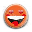 Badge : Smiley fou d'amour orange