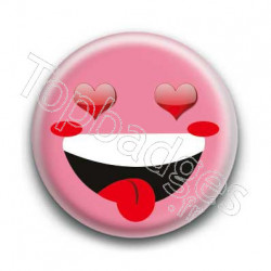 Badge Smiley Fou d'Amour Rose