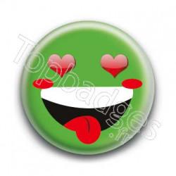 Badge Smiley Fou d'Amour Vert