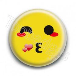Badge Smiley Bisous Jaune
