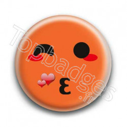 Badge Smiley Bisous Orange