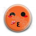 Badge : Smiley bisous orange