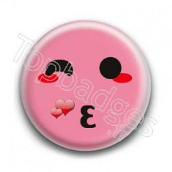 Badge Smiley Bisous Rose