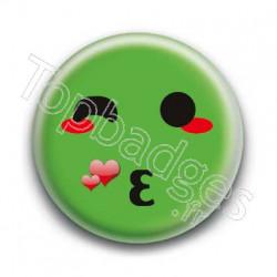 Badge Smiley Bisous Vert
