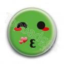 Badge : Smiley bisous vert