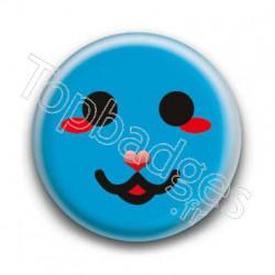 Badge Smiley Chat Bleu