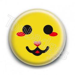 Badge Smiley Chat Jaune