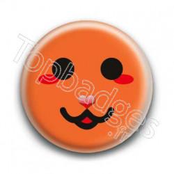 Badge Smiley Chat Orange