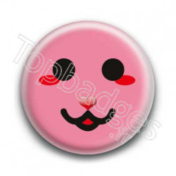 Badge Smiley Chat Rose