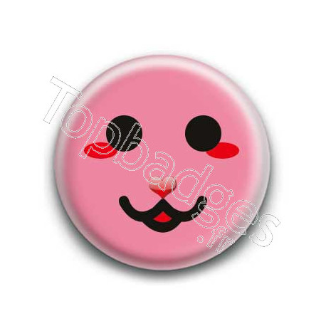 Badge : Smiley chat rose