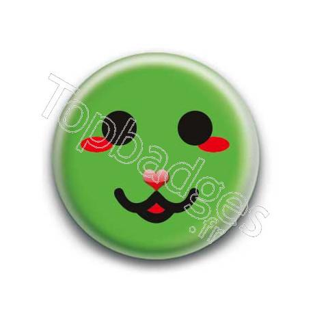 Badge : Smiley chat vert