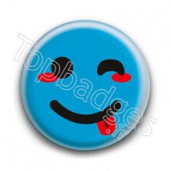 Badge Smiley Clin d'Oeil Bleu