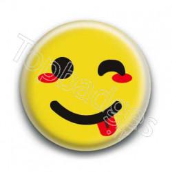 Badge Smiley Clin d'Oeil Jaune